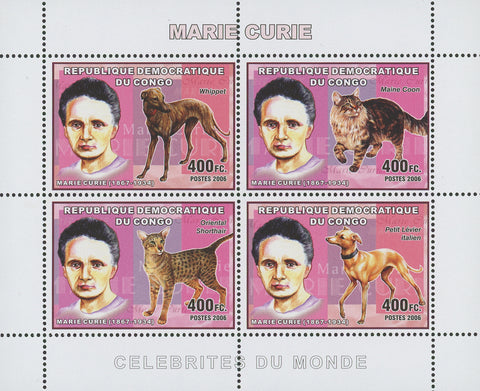 Congo Marie Curie Cat Dog Science Souvenir Sheet of 4 stamps Mint NH