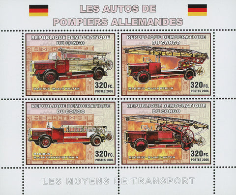 Congo German Firemen's Vehicles  Souvenir Sheet of 4 Stamps Mint NH