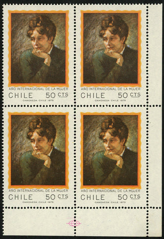 "Chile Stamp International Women's Year ""Portrait of an Unknown"" Art Paint Block"
