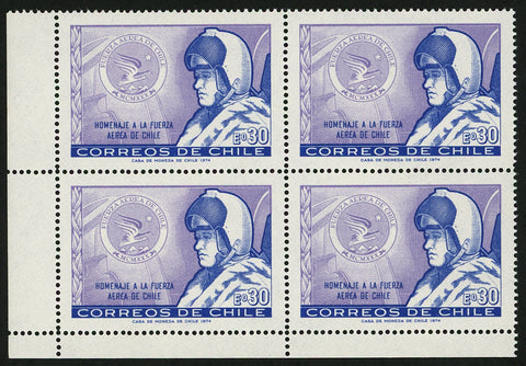 Chile Stamp Tribute to Chilean Air Force Military Block of 4 MNH