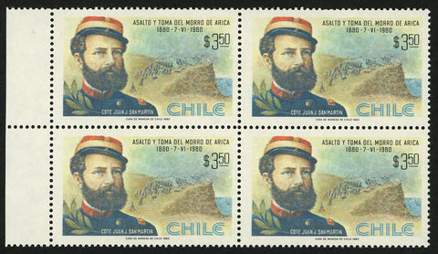 Chile Stamp Assault and Take of the Morro of Arica Juan J. San Martin Block of 4 MNH