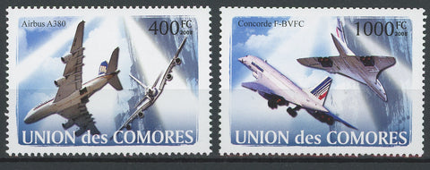 Air Plane Concorde Air Bus Space Serie Set of 2 Stamps Mint NH