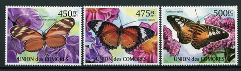 Butterflies Nature Insects Serie Set of 3 Stamps Mint NH