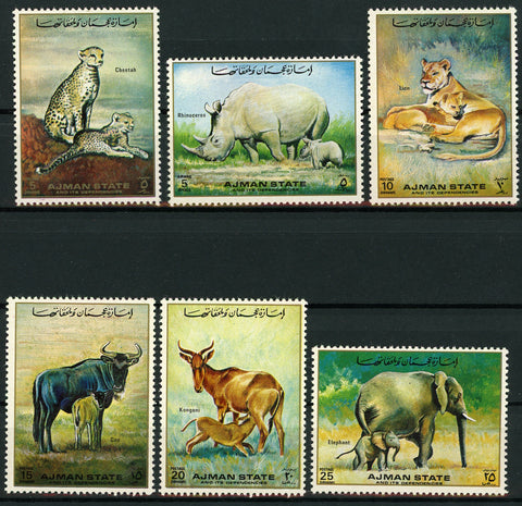 Ajman Wild Animals Panther Elephant Tiger Serie Set of 6 Stamps Mint NH
