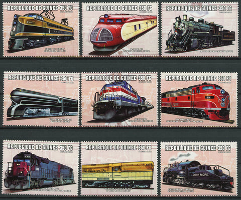 Train Locomotive Transportation Serie Set of 9 Stamps Mint NH