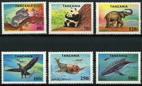 Tanzania Fauna Wildlife Wild Animal Elephant Panda Koala Serie Set of 6 Stamps M