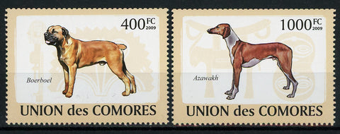 Comoros Dog Canine Domestic Animal Serie Set of 2 Stamps Mint NH