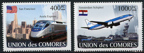 Transportation Plane Train USA Serie Set of 2 Stamps Mint NH
