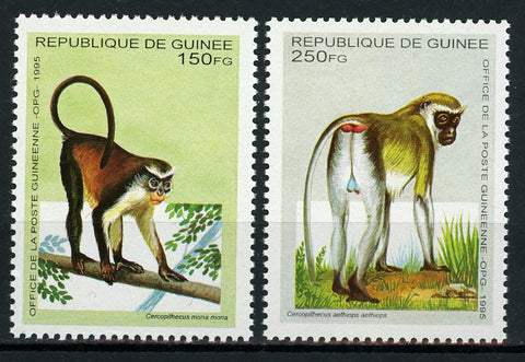 Guinea Chimpanzee Monkey Lemur Serie Set of 2 Stamps Mint NH