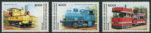 Guinea Train Locomotive Transportation Serie Set of 3 Stamps Mint NH