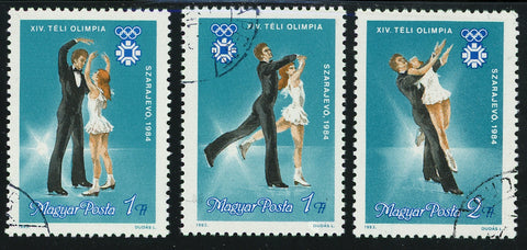 Hungary  Figure Skating Ice Olympic 1984 Sport Serie Set of 3 Stamps