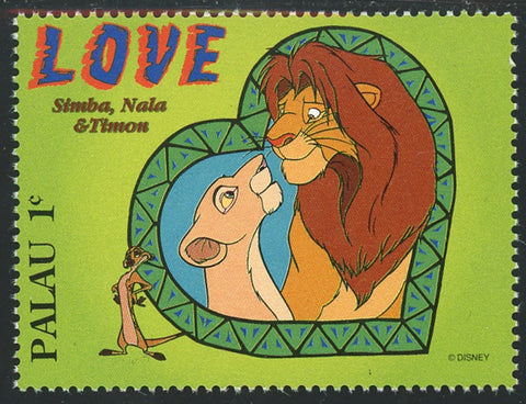 Palau Lion King Simba Nala Timon Love Disney Individual Stamp Mint NH