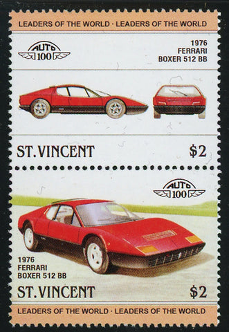 St. Vincent Antique Car Auto 100 Ferrari Boxer 512 Block of 2 Stamps Mint NH