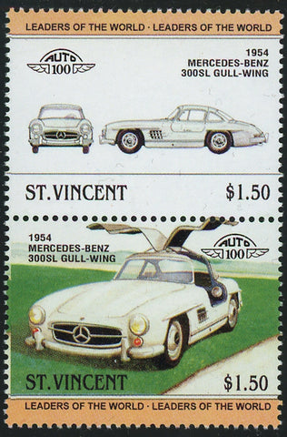 St. Vincent Antique Car Auto 100 Mercedes Benz Block of 2 Stamps Mint NH