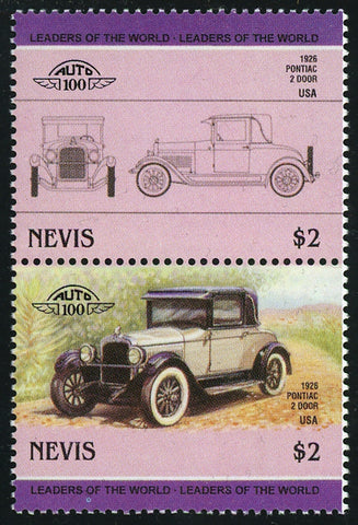 Nevis Antique Car Auto Pontiac 2 Door Block of 2 Stamps Mint NH