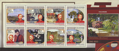 Guinea Jean Frédéric Bazille Art Painter Paintings Souvenir Sheet of 8 Stamps Mi