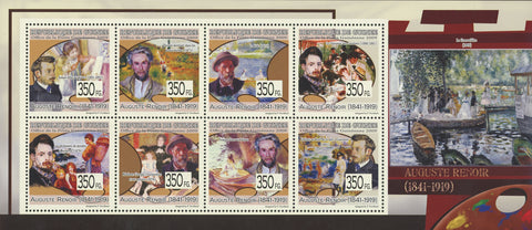 Guinea Auguste Renoir Painter Art Souvenir Sheet of 8 Stamps Mint NH