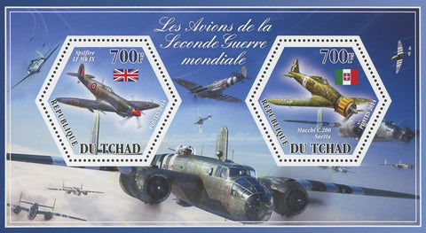 Airplane World War II Spitfire Macchi Souvenir Sheet of 2 Stamps Mint NH