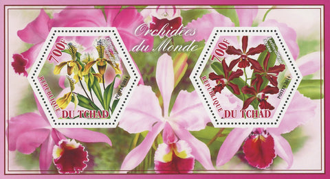 Orchid Flower Cypripedium Laeliocattleya Souvenir Sheet of 2 Stamps Mint NH