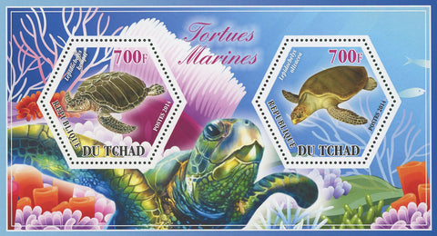 Turtle Marine Fauna Kempii Olivacea Souvenir Sheet of 2 Stamps Mint NH
