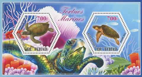 Turtle Marine Fauna Chelonia Caretta Souvenir Sheet of 2 Stamps Mint NH