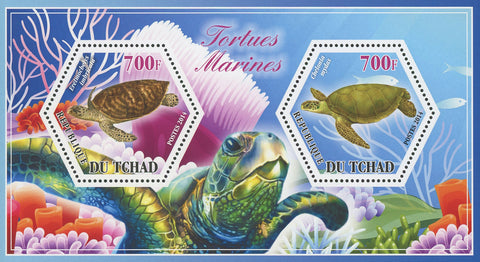 Turtle Marine Fauna Eretmochelys Chelonia Souvenir Sheet of 2 Stamps Mint NH
