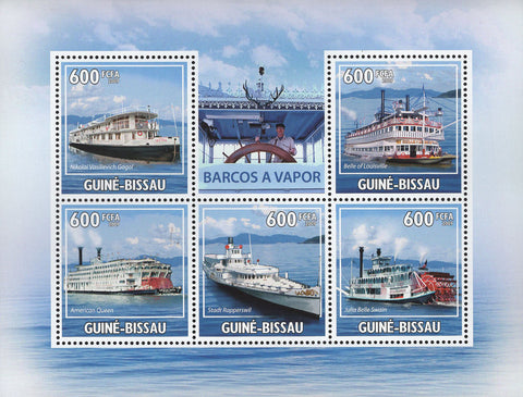 Guiné-Bissau Steam Boats Souvenir  Sheet of 5 Stamps Mint NH