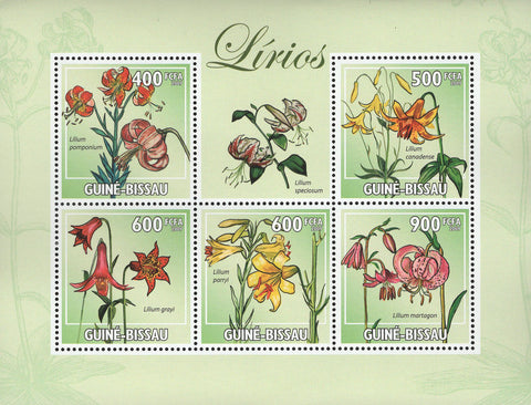 Lilies Flowers Souvenir Sheet of 5 Stamps Mint NH