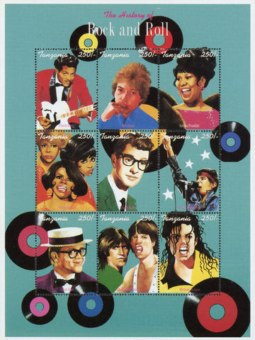 The History of Rock and Roll Singers Music Sov. Sheet of 9 Stamps MNH