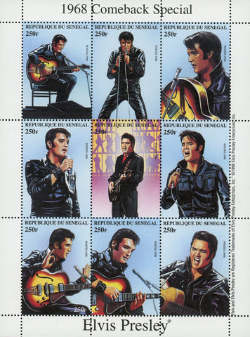 Elvis Presley Rock n' Roll Singer Famous Souvenir Sheet of 9 Stamps MNH