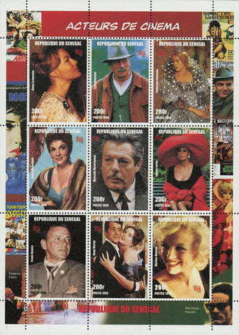 Cinema Actor Actress Frank Sinatra Marilyn Monroe Famous Sov. Sheet of 9 MNH