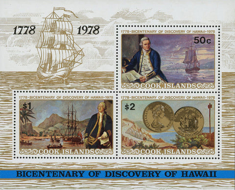 Discovery of Hawai Historical Events Souvenir Sheet of 3 Stamps MNH
