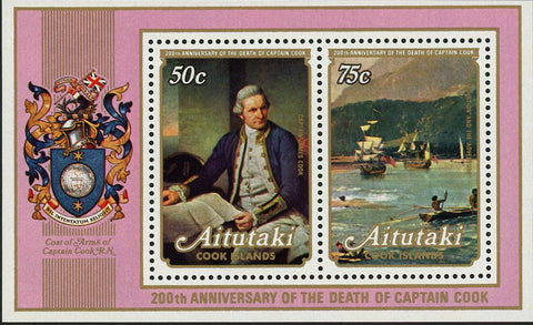 Captain James Cook Historical Figure Souvenir Sheet of 2 Stamps MNH