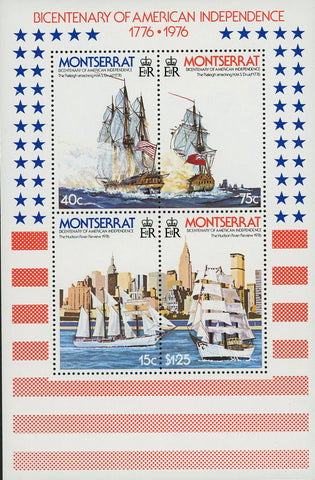 American Independence Historical Event Ship Souvenir Sheet of 4 Stamps MNH