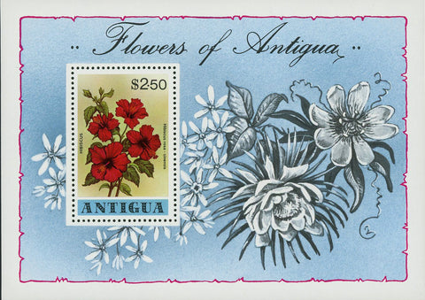 Flowers of Antigua Hibiscus Rosemallows Souvenir Sheet MNH