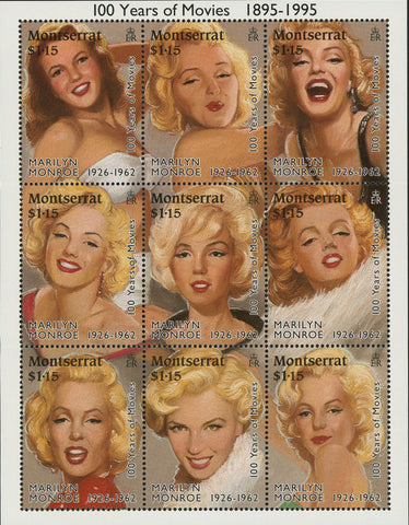 Marilyn Monroe Famous Women Actress Souvenir Sheet of 9 Stamps Mint NH