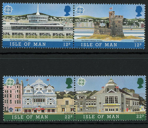 Isle of Man Europe '87 Architecture Buildings 2 Blocks of 2 Stamps MNH