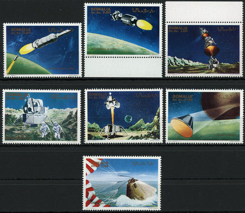 Space Rocket Landing Astronaut Serie Set of 7 Stamps MNH