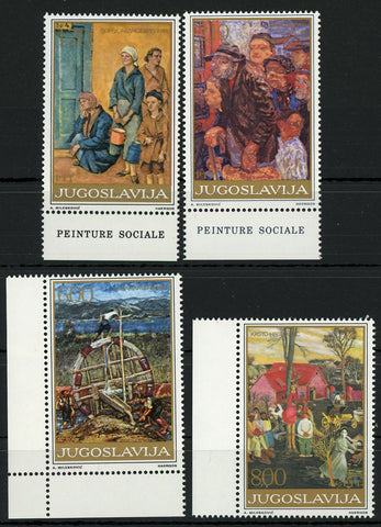Yugoslavia Art Social Paintings Harrison Serie Set of 4 Stamps MNH