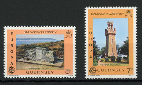Bailiwick of Guernsey Architecture Monument Tower Serie Set of 2 Stamp Mint NH
