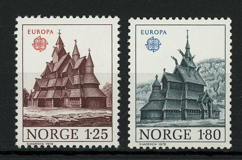 Norway Europe Antique House Classic Architecture Serie Set of 2 Stamp Mint NH