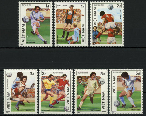 Vietnam Soccer Sport Cup Mexico '86 Serie Set of 7 Stamps Mint NH