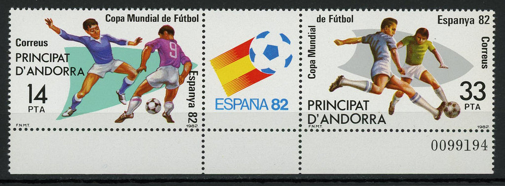 Andorra Spain Soccer Sport World Cup '82 Block of 2 Stamps Mint NH