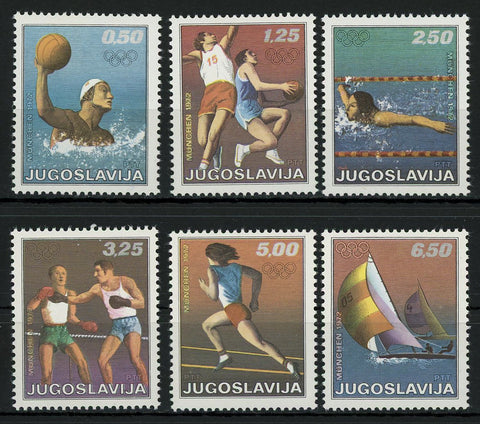 Yugoslavia Olympic Games Sport Serie Set of 6 Stamps MNH