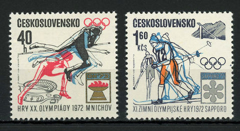 Czechoslovakia Winter Olympic Games Sport Serie Set of 2 Stamps Mint NH