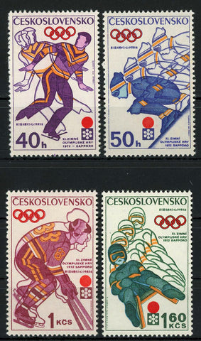 Czechoslovakia Winter Olympic Games Sport Serie Set of 4 Stamps Mint NH