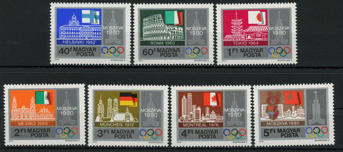 Hungary Olympic Games Countries Sport Serie Set of 7 Stamps Mint NH