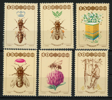 Poland APIMONDIA '87 Bees Insect Serie Set of 6 Stamps Mint NH