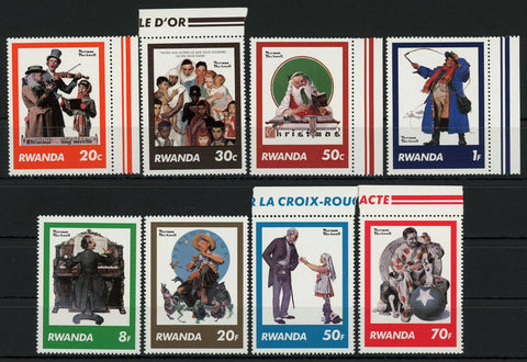 Norman Rockwell Christmas Art Music Serie Set of 8 Stamps Mint NH