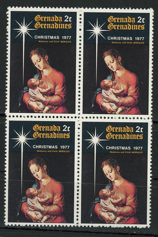 Christmas 1977 Madonna and Child Morales Block of 4 Mint NH